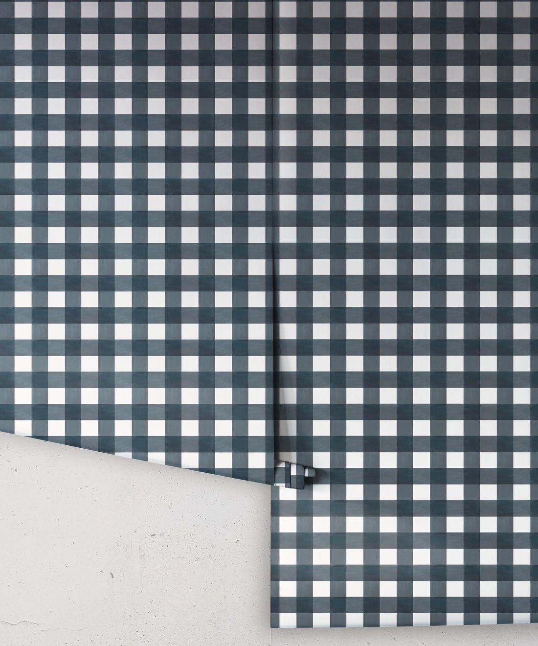 Check Wallpaper • Navy •Rolls