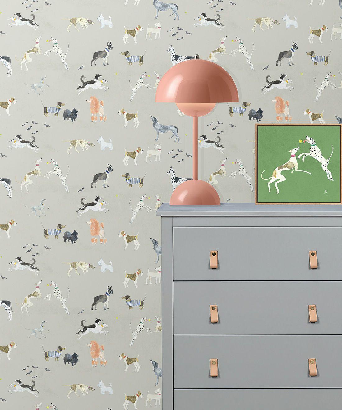 Doggies Wallpaper •Dog Wallpaper •Beige • Insitu with dresser and lamp