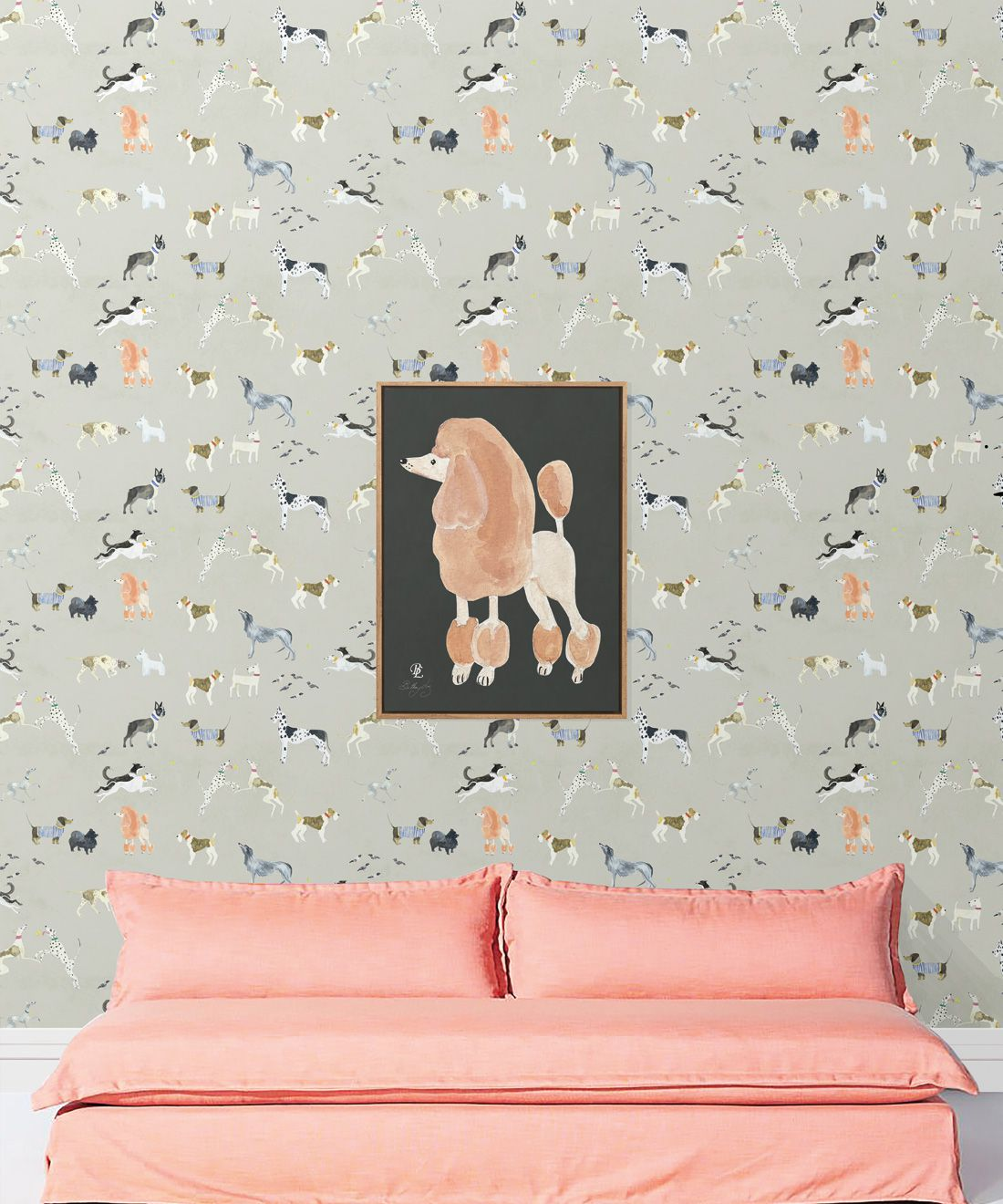 Doggies Wallpaper •Dog Wallpaper •Beige • Insitu with salmon colored sofa