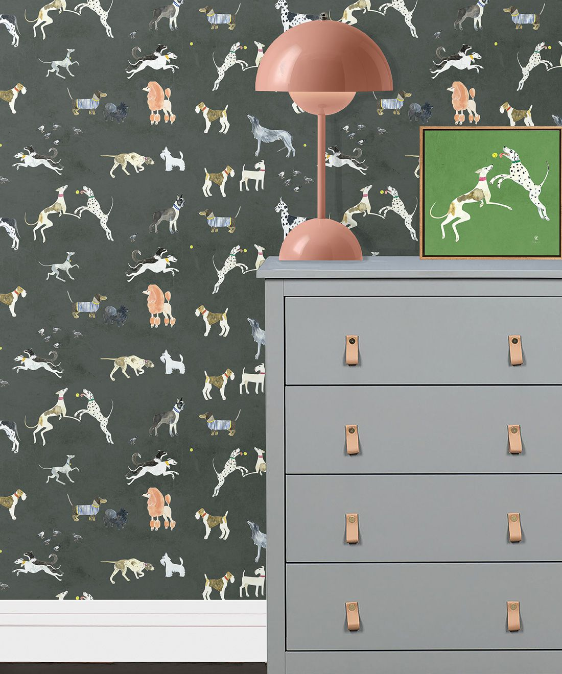 Doggies Wallpaper •Dog Wallpaper •Charcoal • Insitu with grey dresser and salmon lamp
