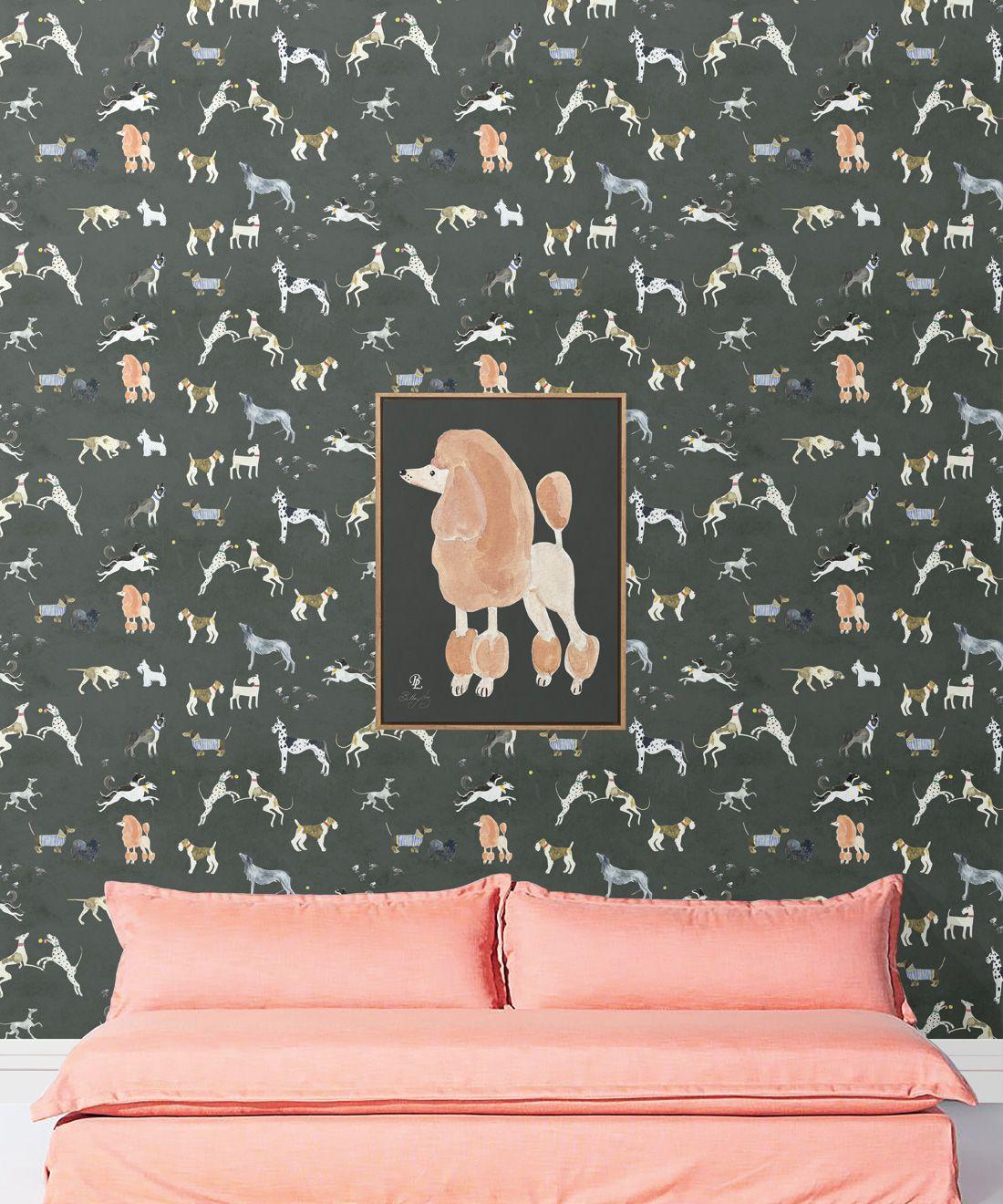 Doggies Wallpaper •Dog Wallpaper •Charcoal • Insitu with salmon colored sofa