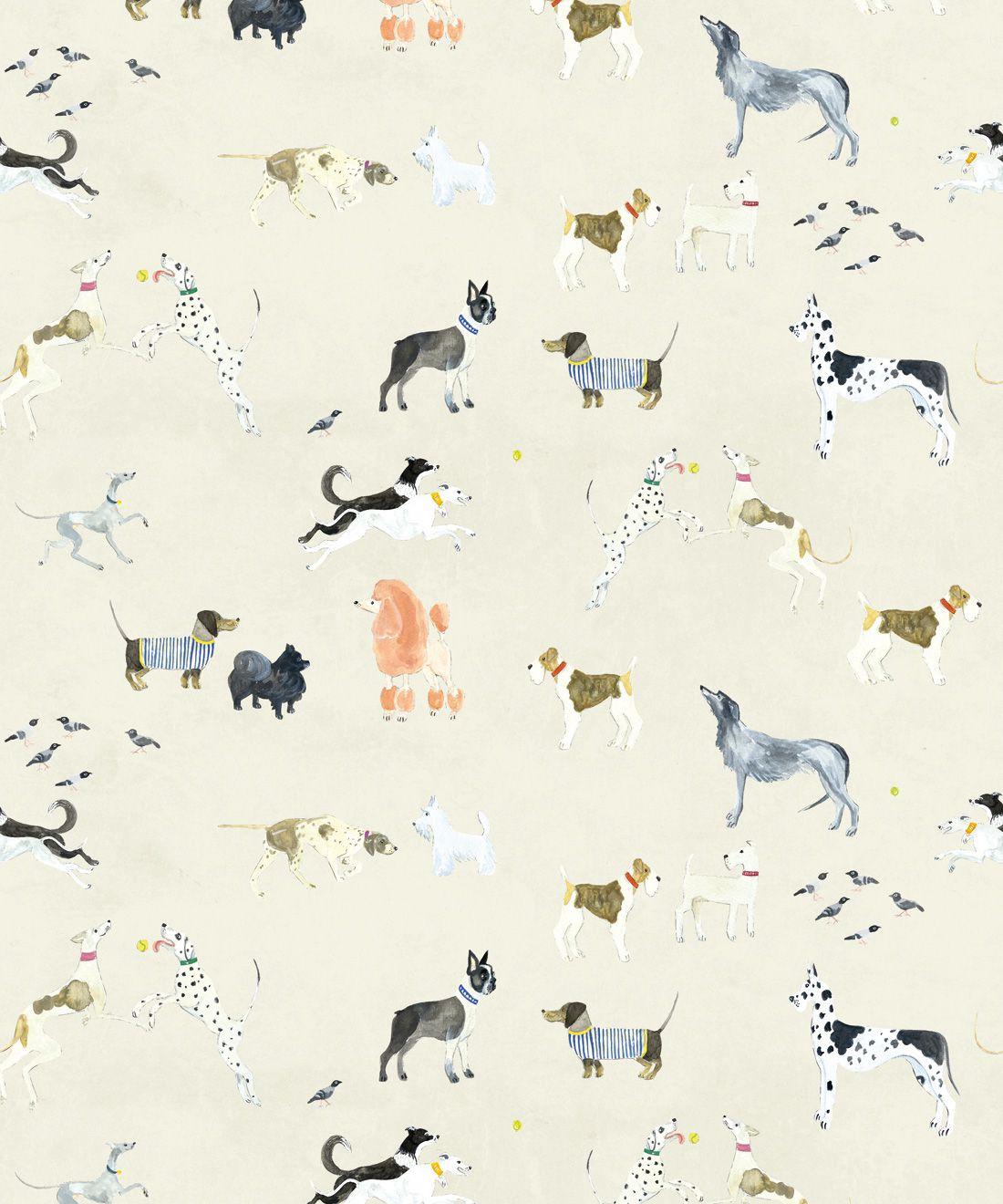Doggies Wallpaper •Dog Wallpaper •Cream • Swatch