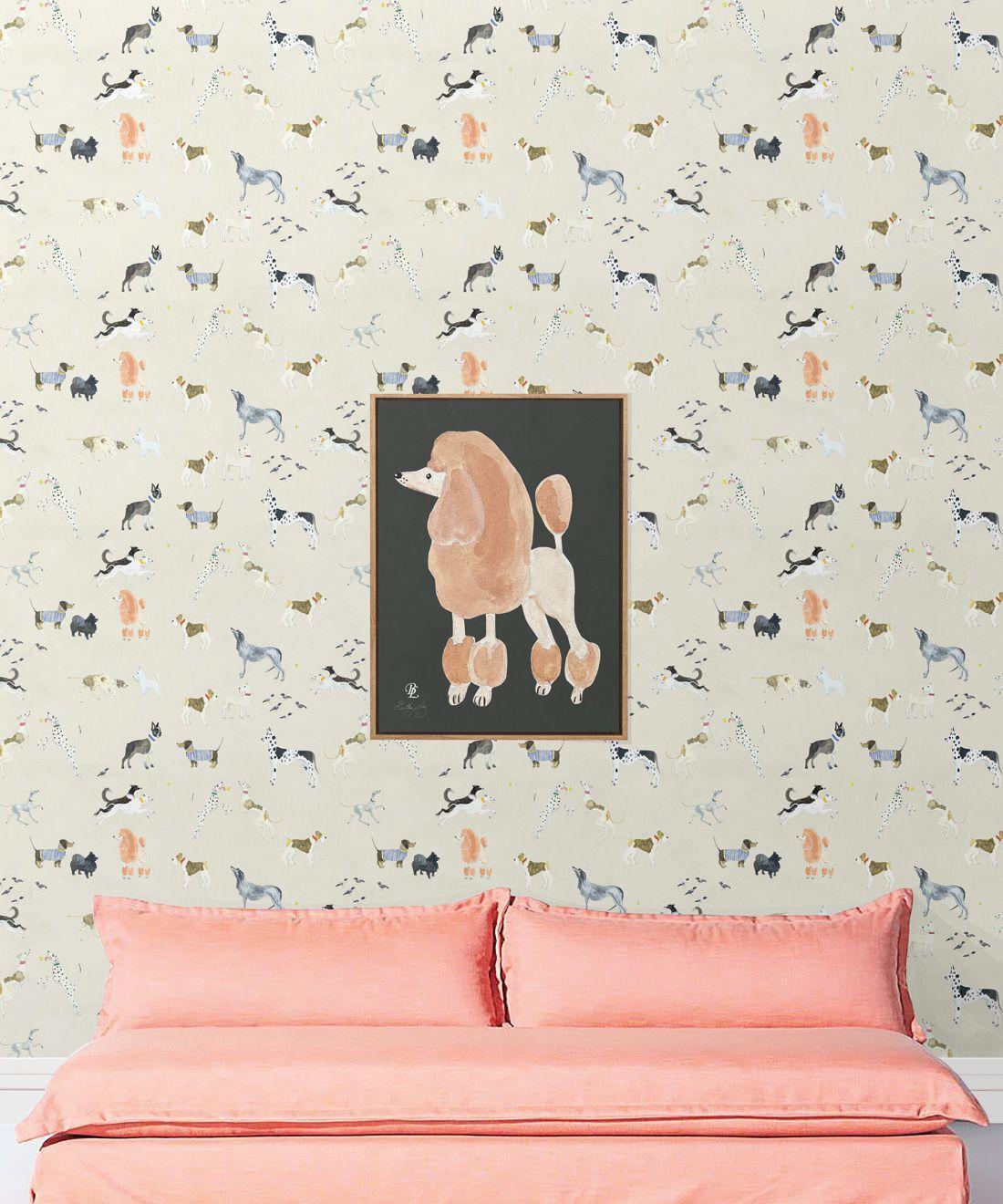 Doggies Wallpaper •Dog Wallpaper •Cream • Insitu with salmon colored sofa