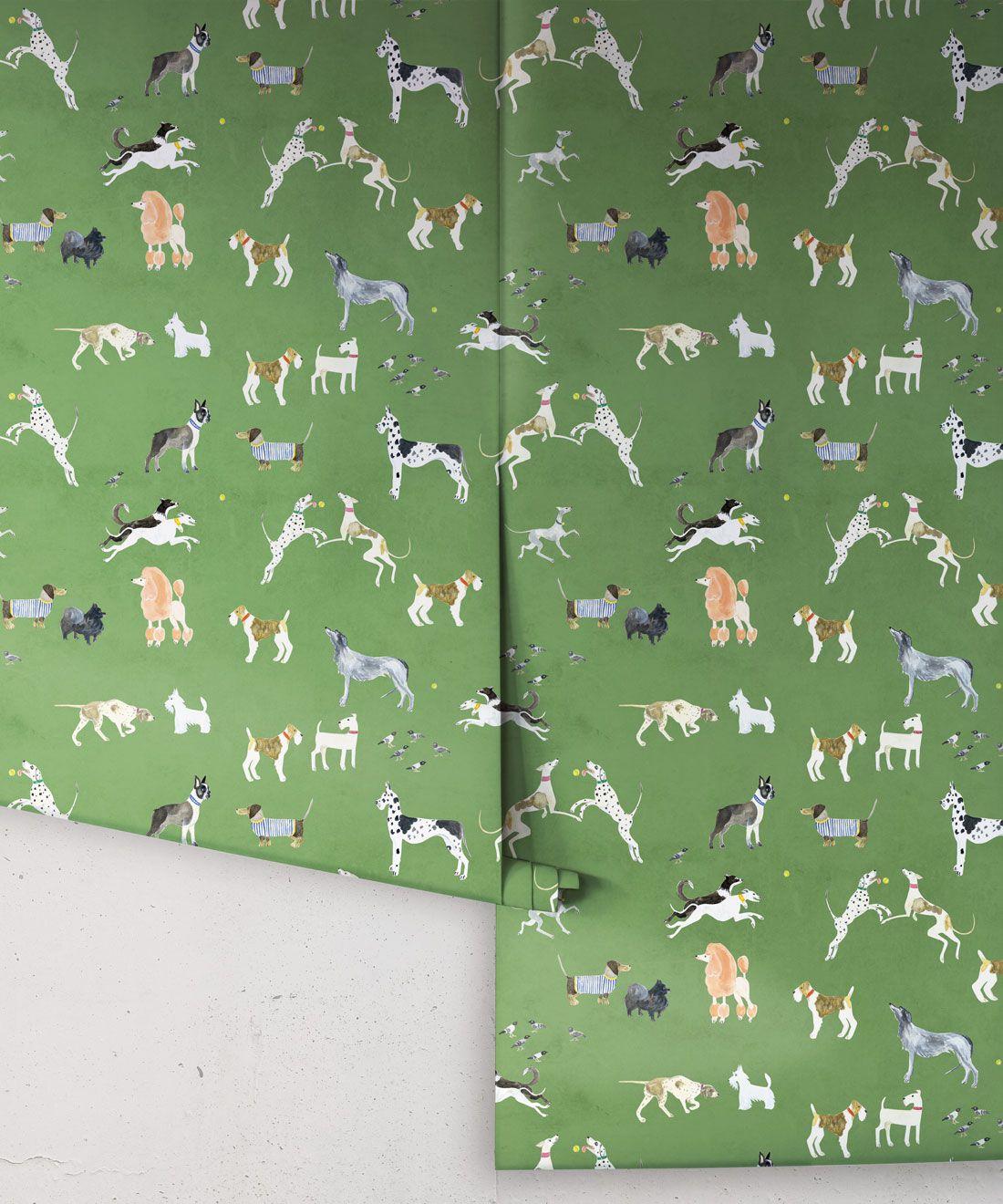 Doggies Wallpaper •Dog Wallpaper •Green • Rolls
