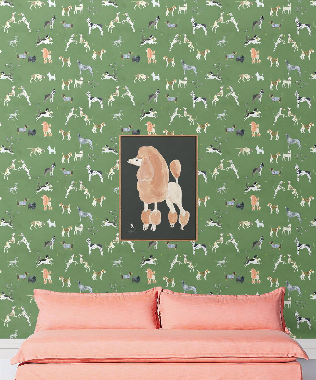 Doggies Wallpaper •Dog Wallpaper •Green • Insitu with salmon colored sofa