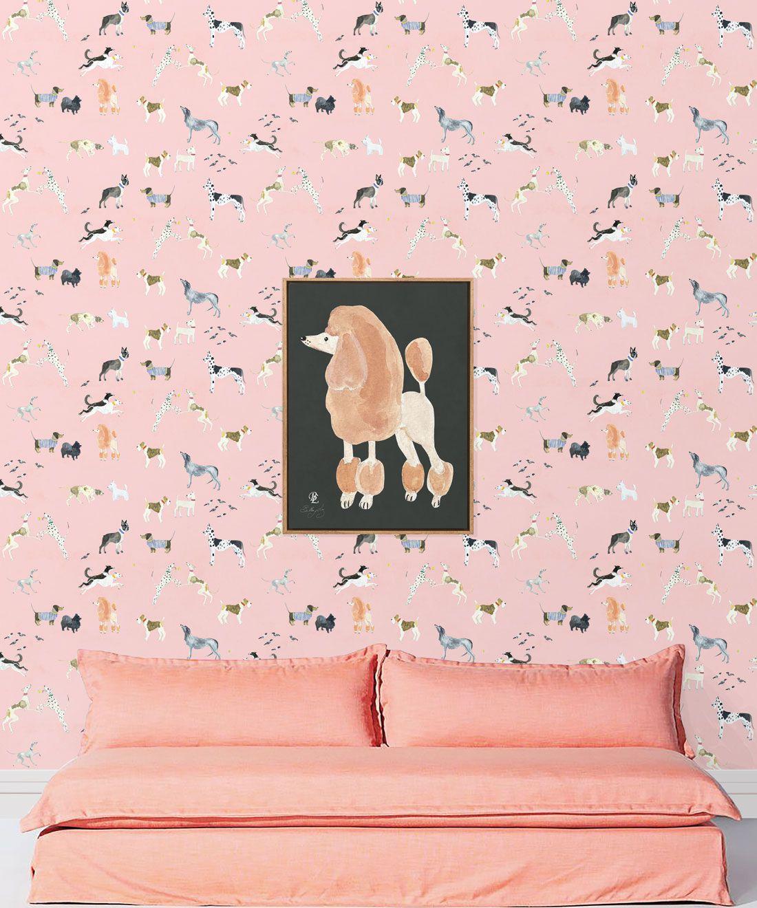 Doggies Wallpaper •Dog Wallpaper •Pink • insitu with salmon colored sofa