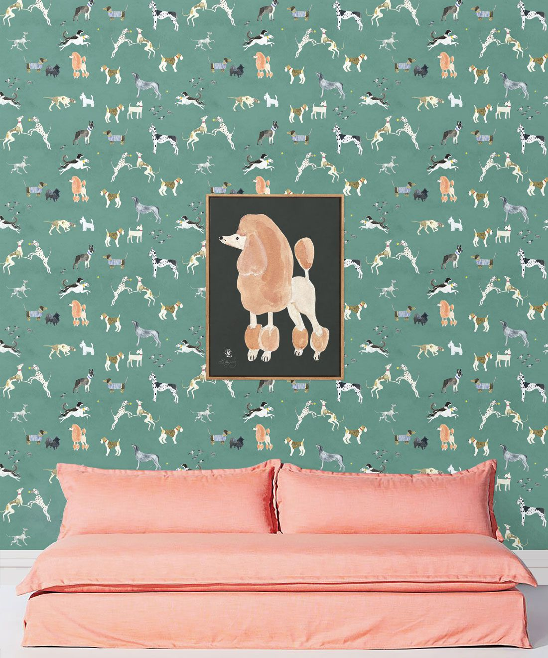 Doggies Wallpaper •Dog Wallpaper •Turquoise • Insitu with salmon colored sofa