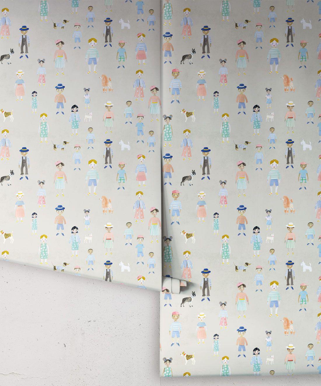 Paper Dolls wallpaper • Beige • Rolls