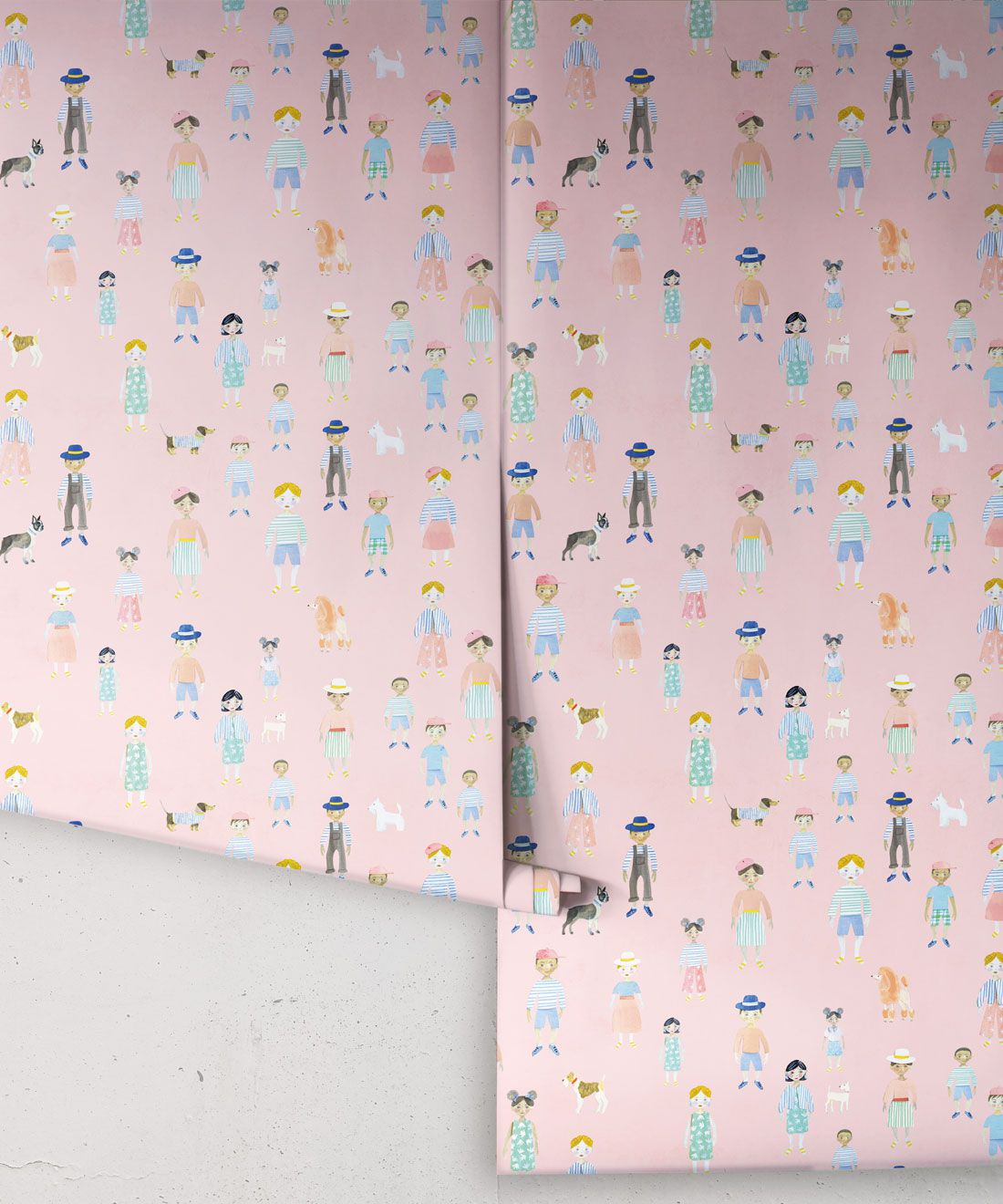 Paper Dolls wallpaper • Pink • Rolls