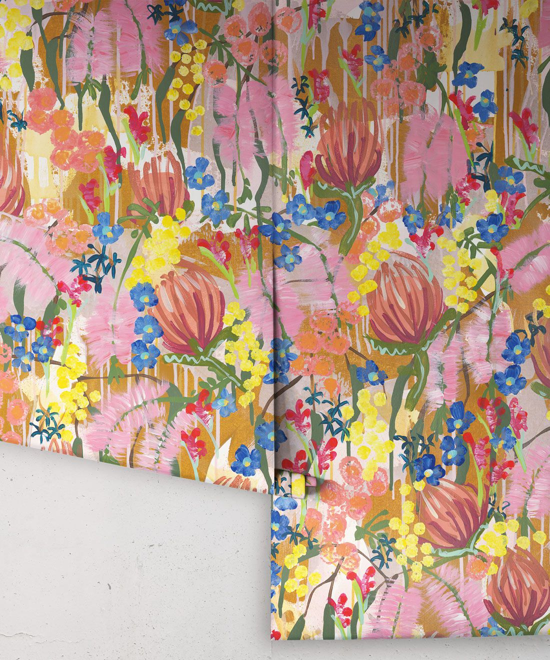 Acacia Wallpaper •Colorful Floral Wallpaper • Tiff Manuell • Abstract Expressionist Wallpaper • Rolls