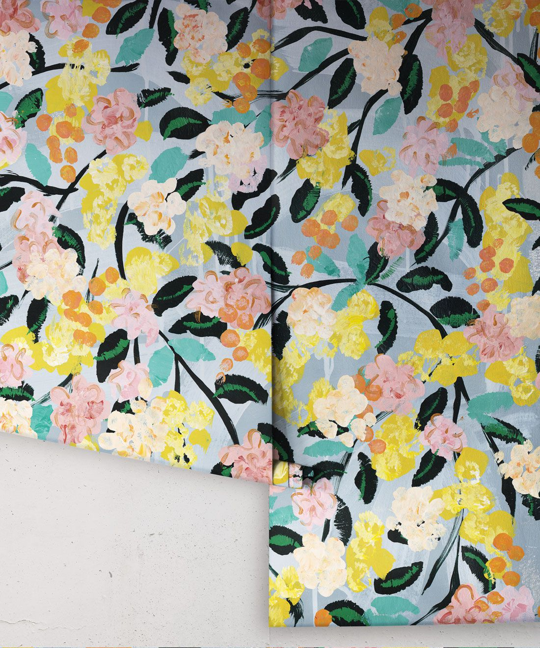 Blossom Wallpaper •Colorful Floral Wallpaper • Tiff Manuell • Abstract Expressionist Wallpaper • Rolls