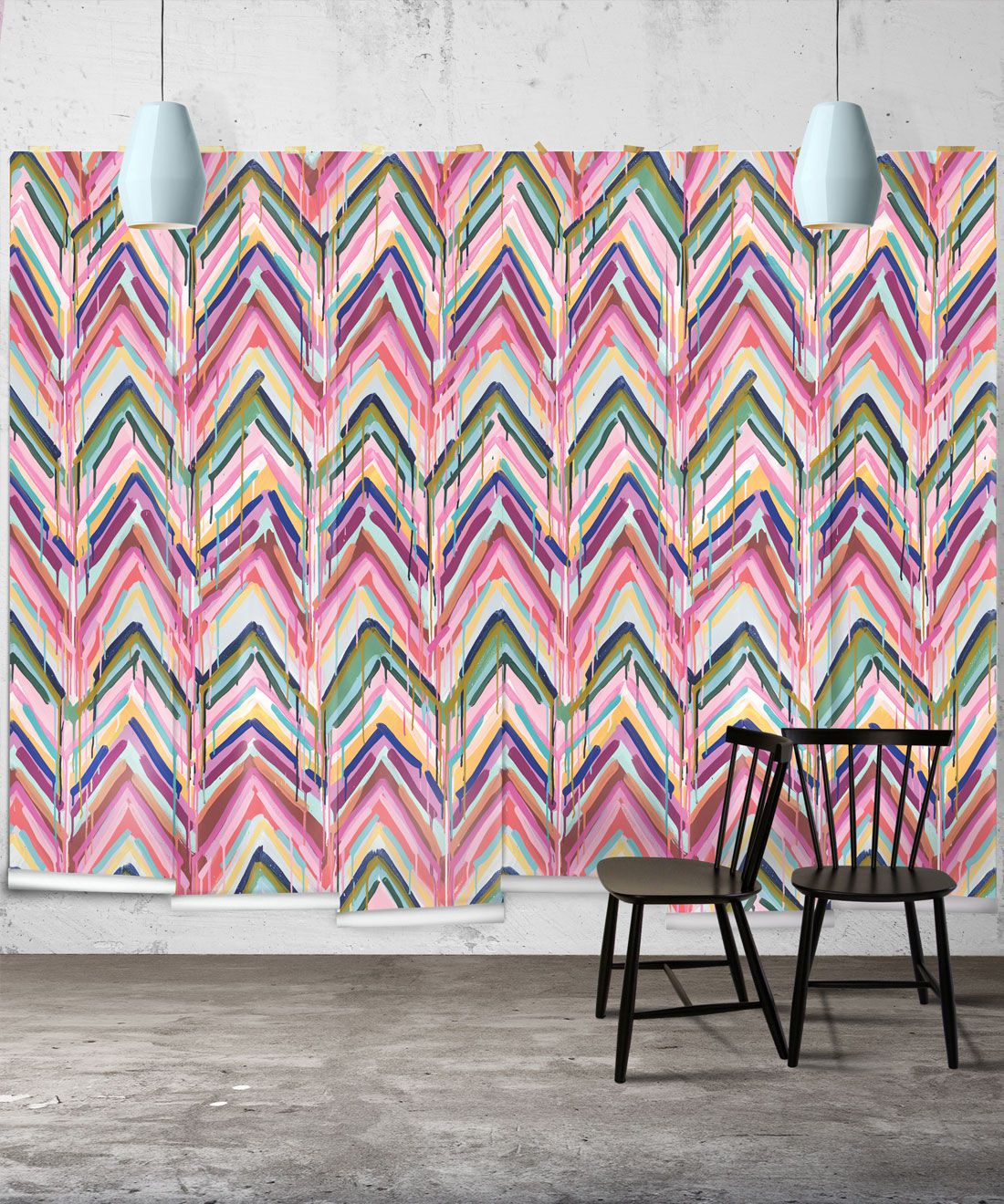Crossroads Wallpaper • Colorful Painterly Wallpaper • Tiff Manuell • Chevron Wallpaper • Wide Insitu