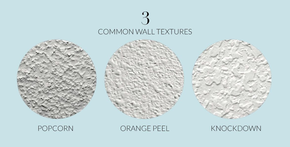 3 types of wall texture • knockdown wall texture • popcorn wall texture • orange peel wall texture • wallpaper and wall texture