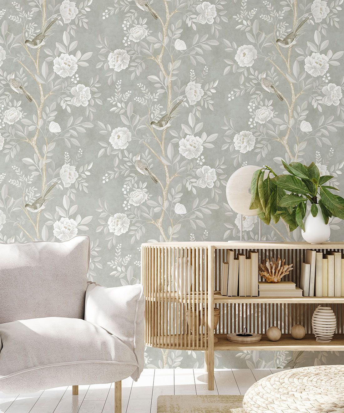 Chinoiserie Wallpaper •Floral Wallpaper •Bird Wallpaper • Magnolia • Linen • Insitu