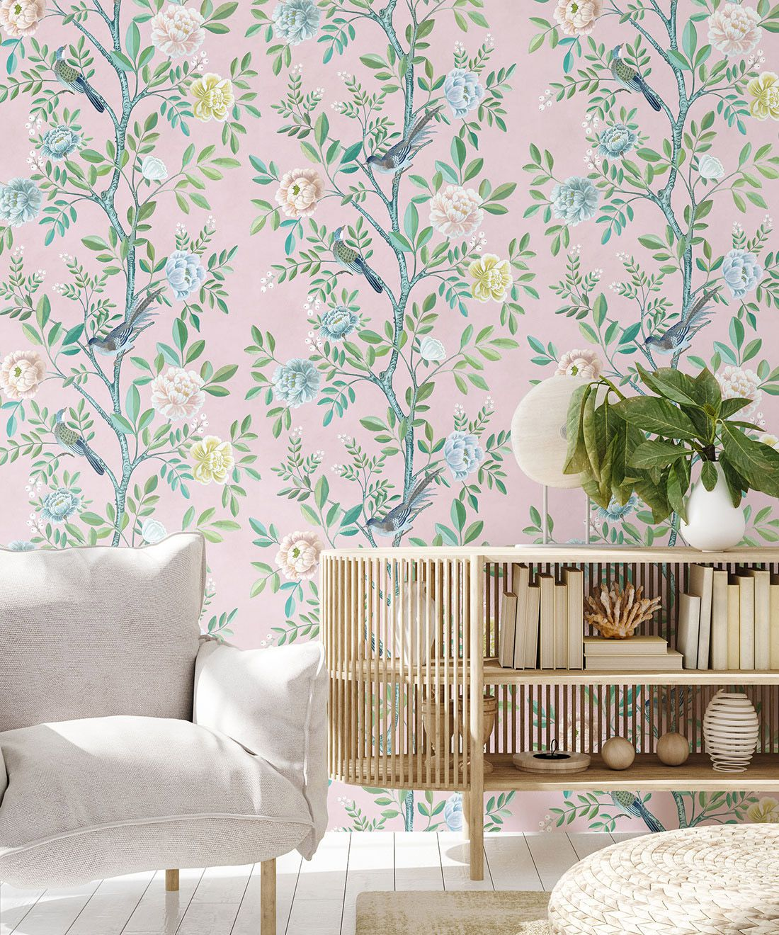 Chinoiserie Wallpaper •Floral Wallpaper •Bird Wallpaper • Magnolia • Blush • Insitu