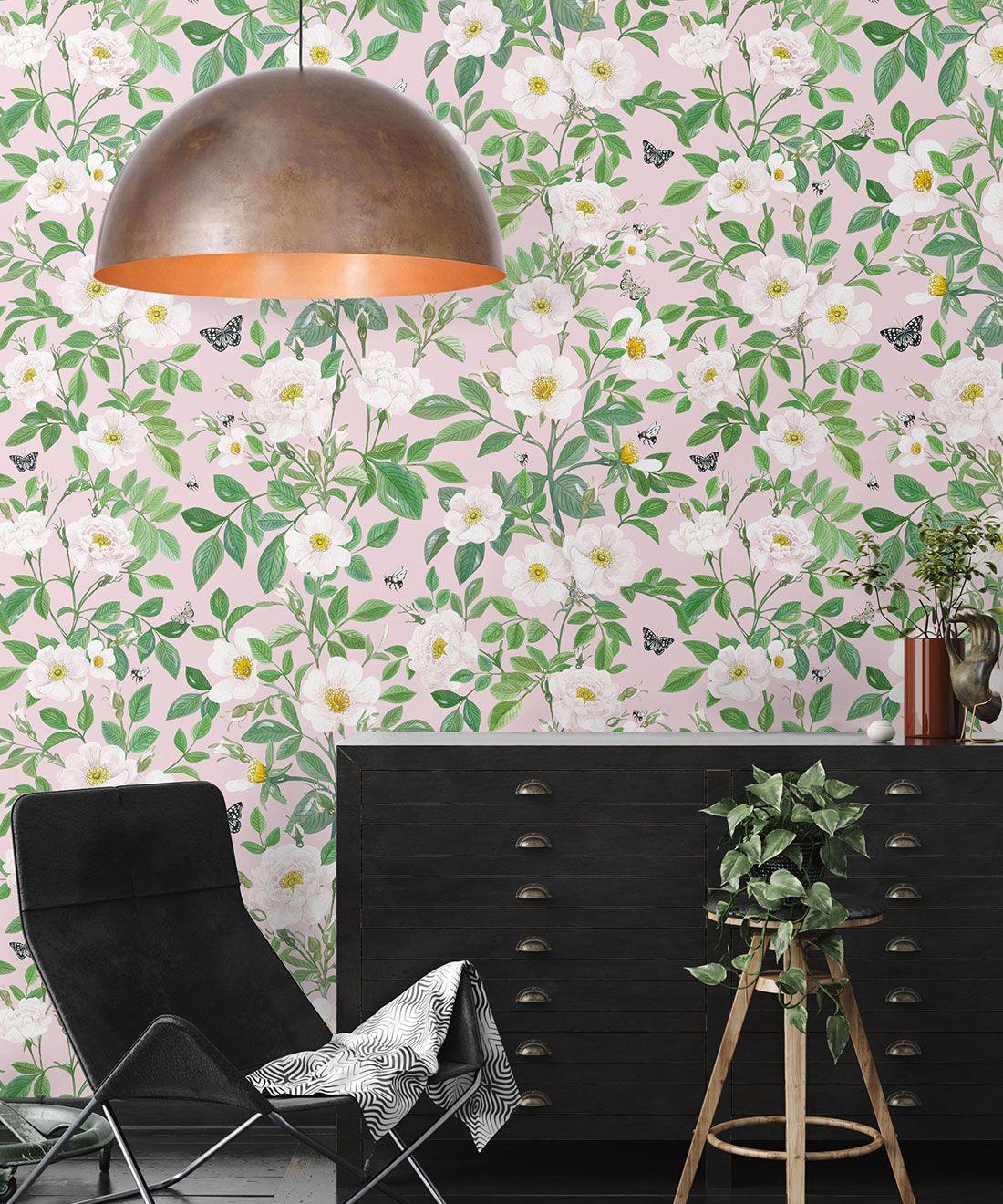 Rosa Wallpaper • Floral Wallpaper • Blush• Insitu