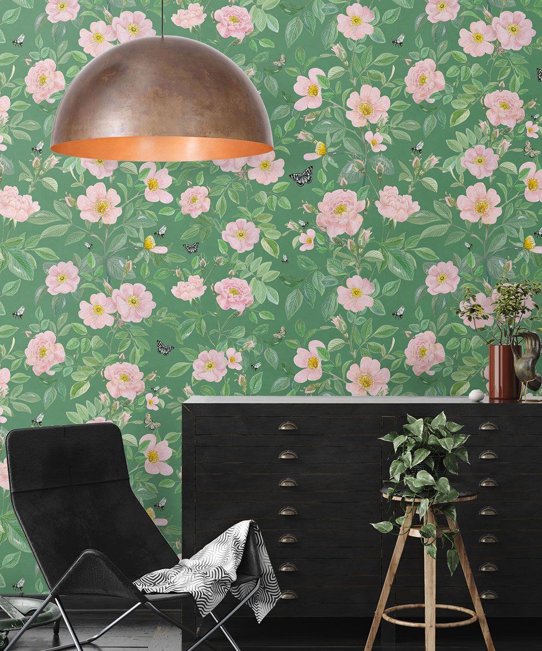 Rosa Wallpaper • Floral Wallpaper • Green • Insitu