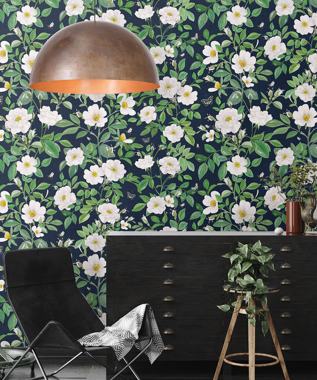 Rosa Wallpaper • Floral Wallpaper • Navy • Insitu