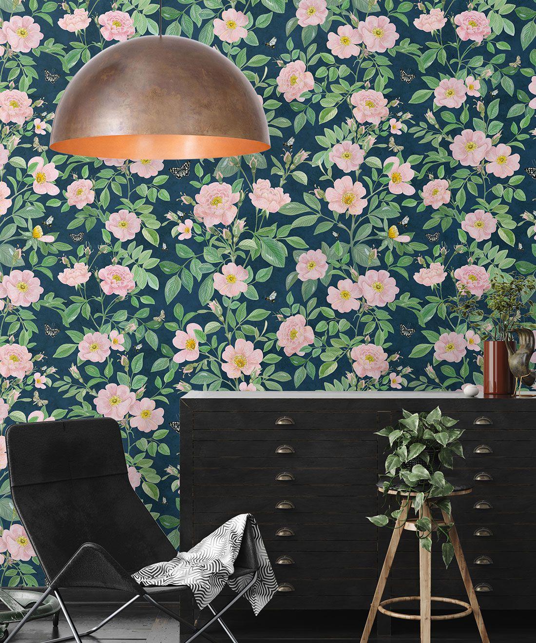 Rosa Wallpaper • Floral Wallpaper • Pink • Insitu