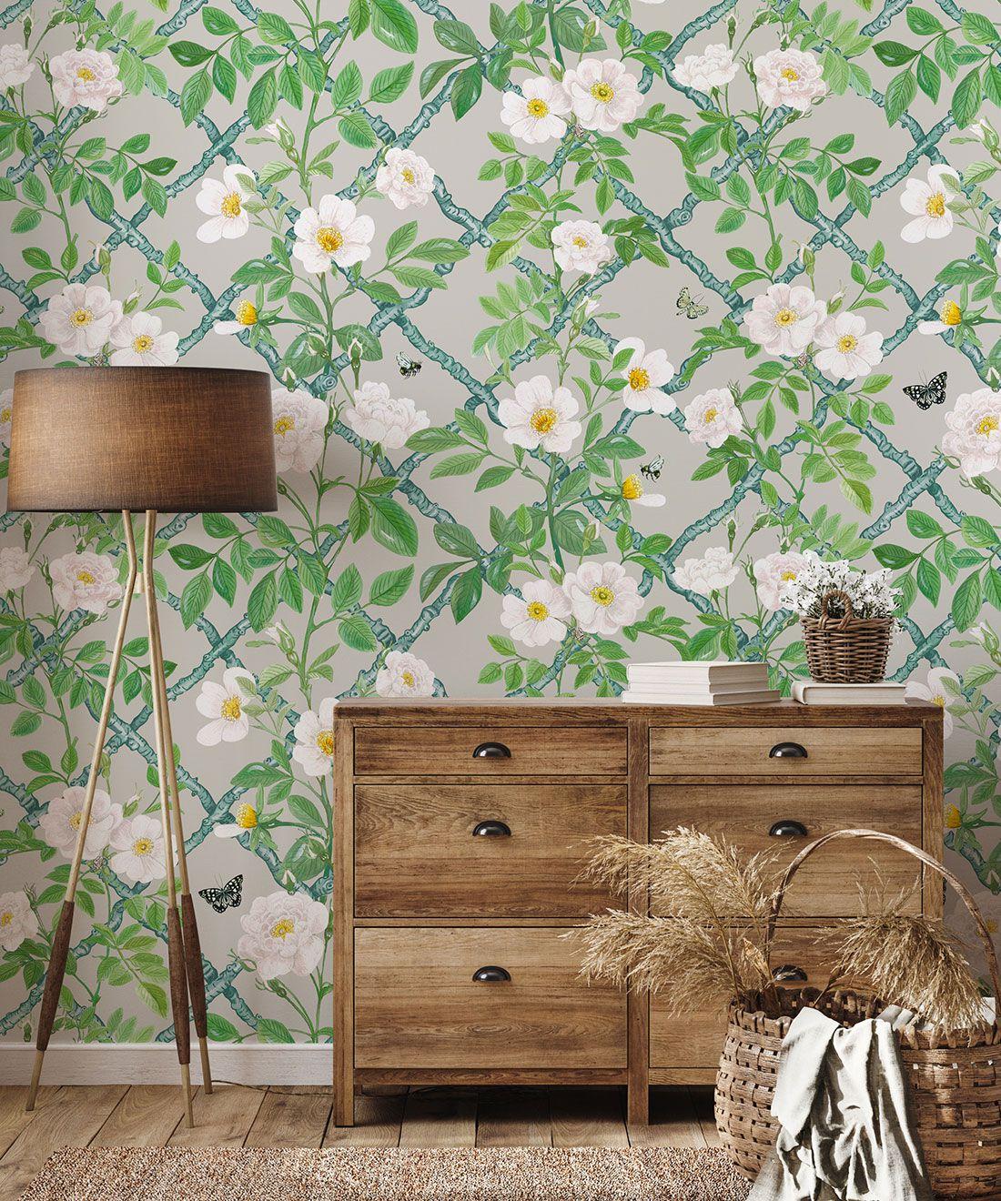 Treilage Wallpaper • Floral Wallpaper • Beige • Insitu