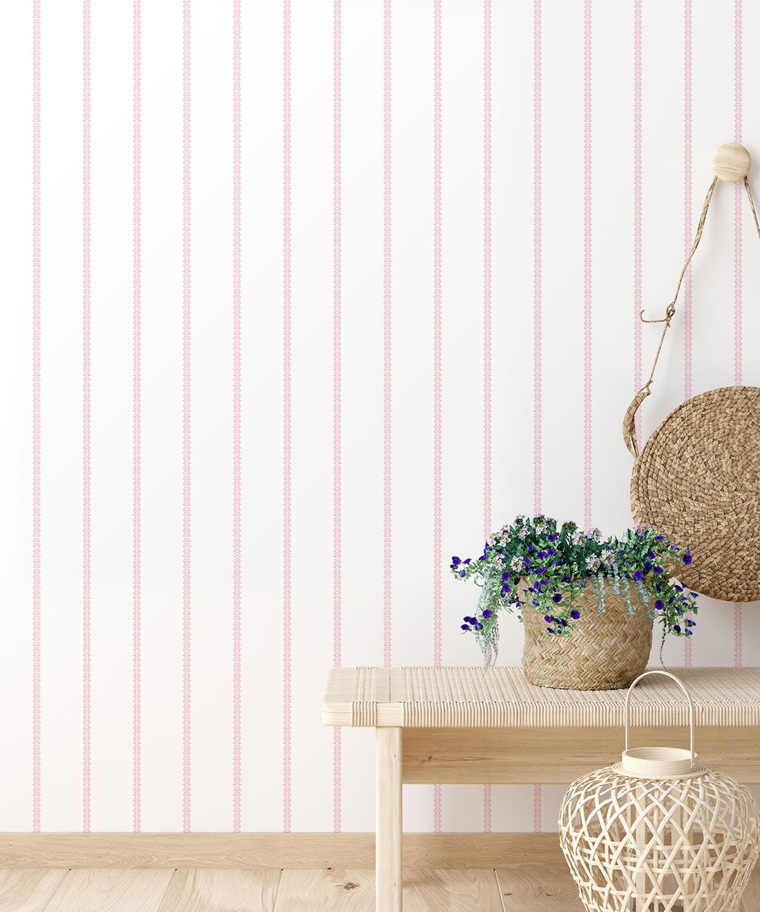 Chemin Wallpaper • Striped Wallpaper • Blush • Insitu