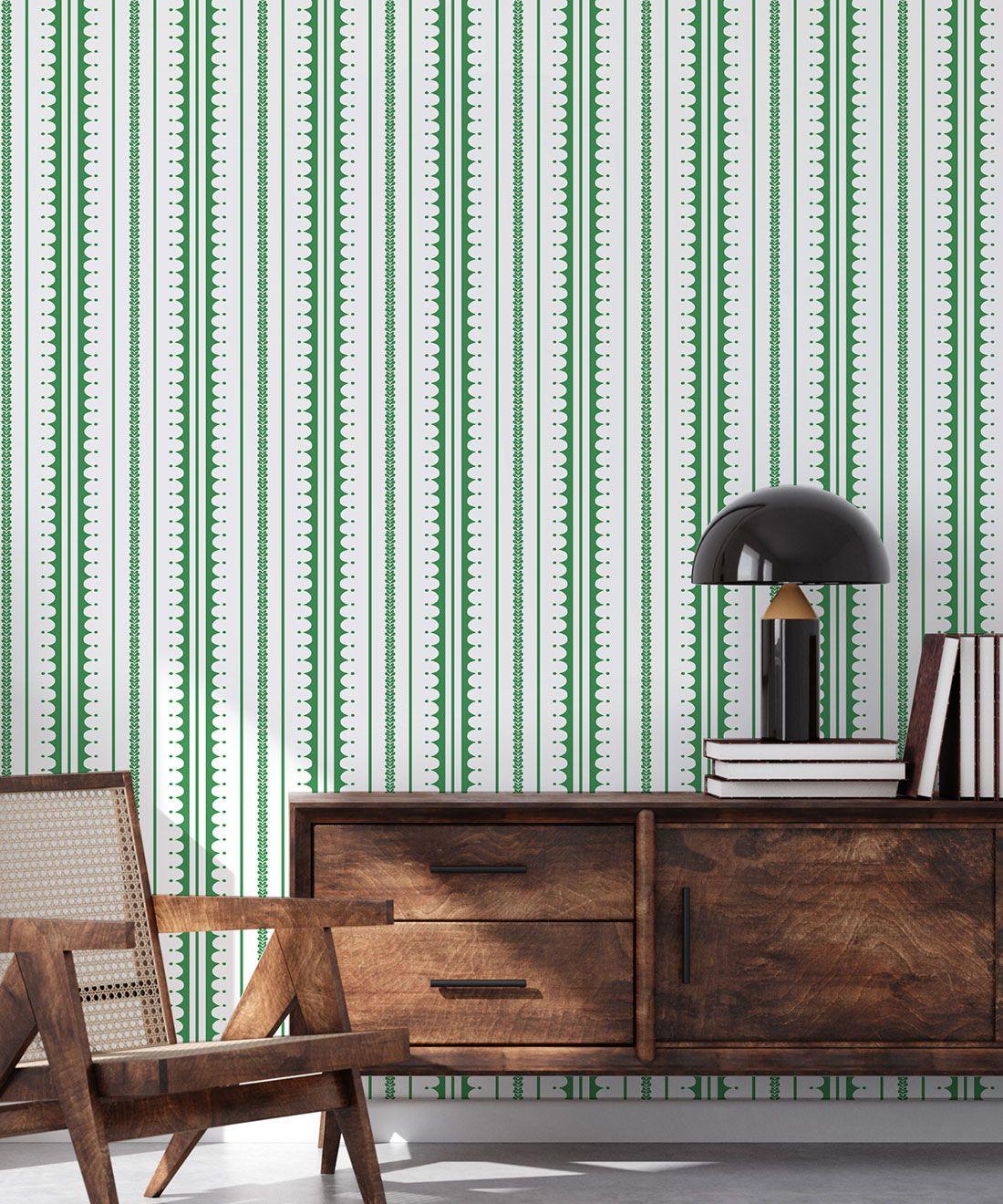 La Grand Coquille • Stripe and Scallop Wallpaper • Forest Green • Insitu