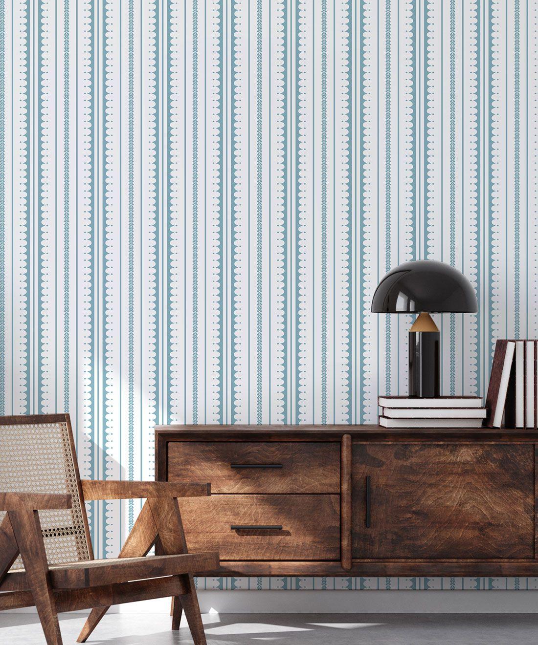 La Grand Coquille • Stripe and Scallop Wallpaper • Powder Blue • Insitu