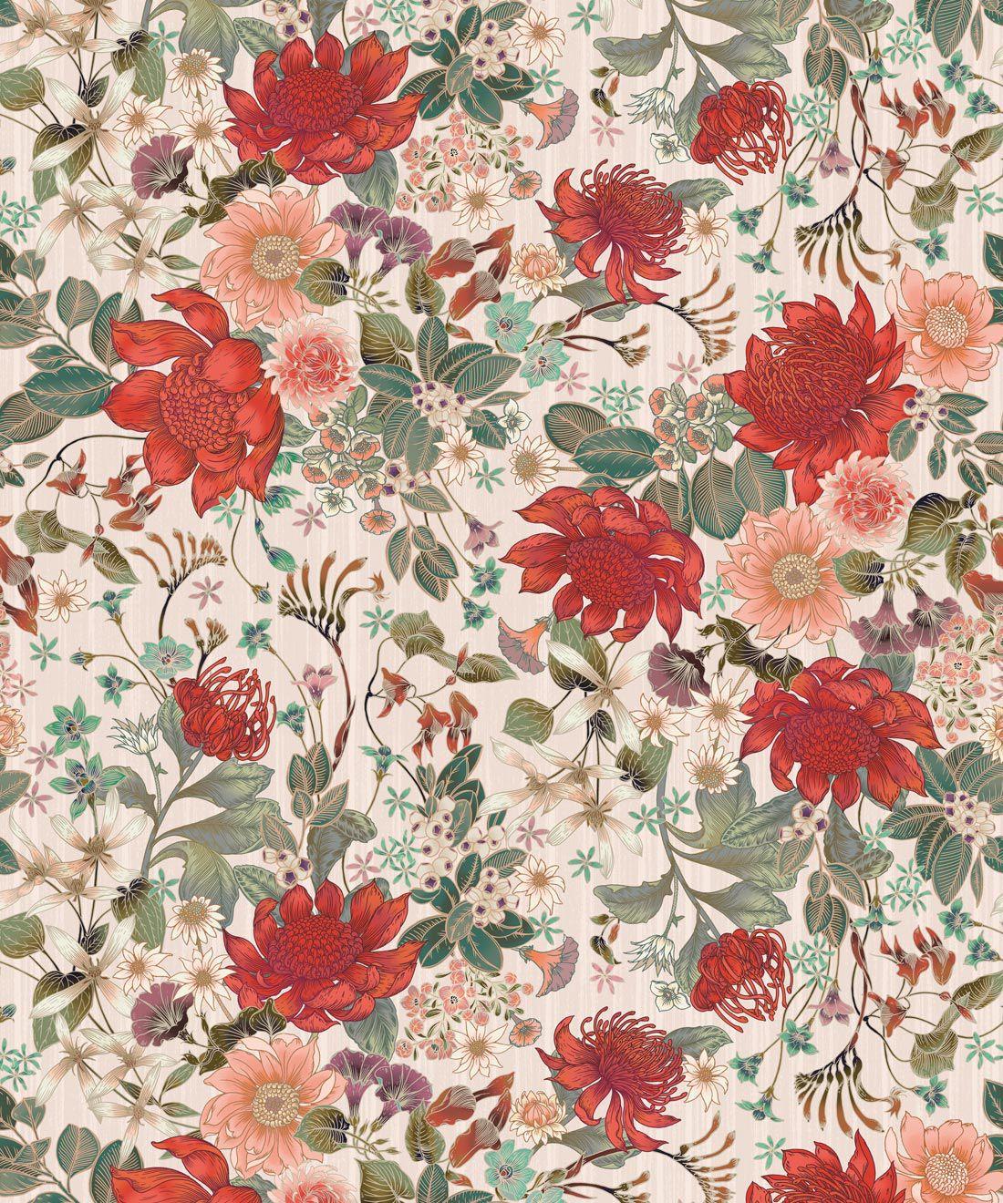 Bouquet Wallpaper • Eloise Short • Vintage Floral Wallpaper •Granny Chic Wallpaper • Grandmillennial Style Wallpaper •Alabaster •Swatch