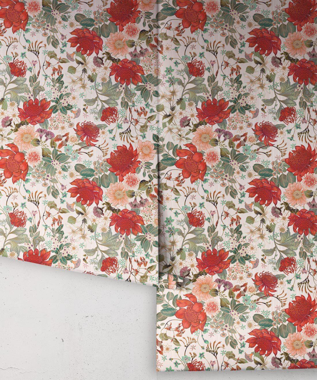 Bouquet Wallpaper • Eloise Short • Vintage Floral Wallpaper •Granny Chic Wallpaper • Grandmillennial Style Wallpaper •Alabaster •Rolls