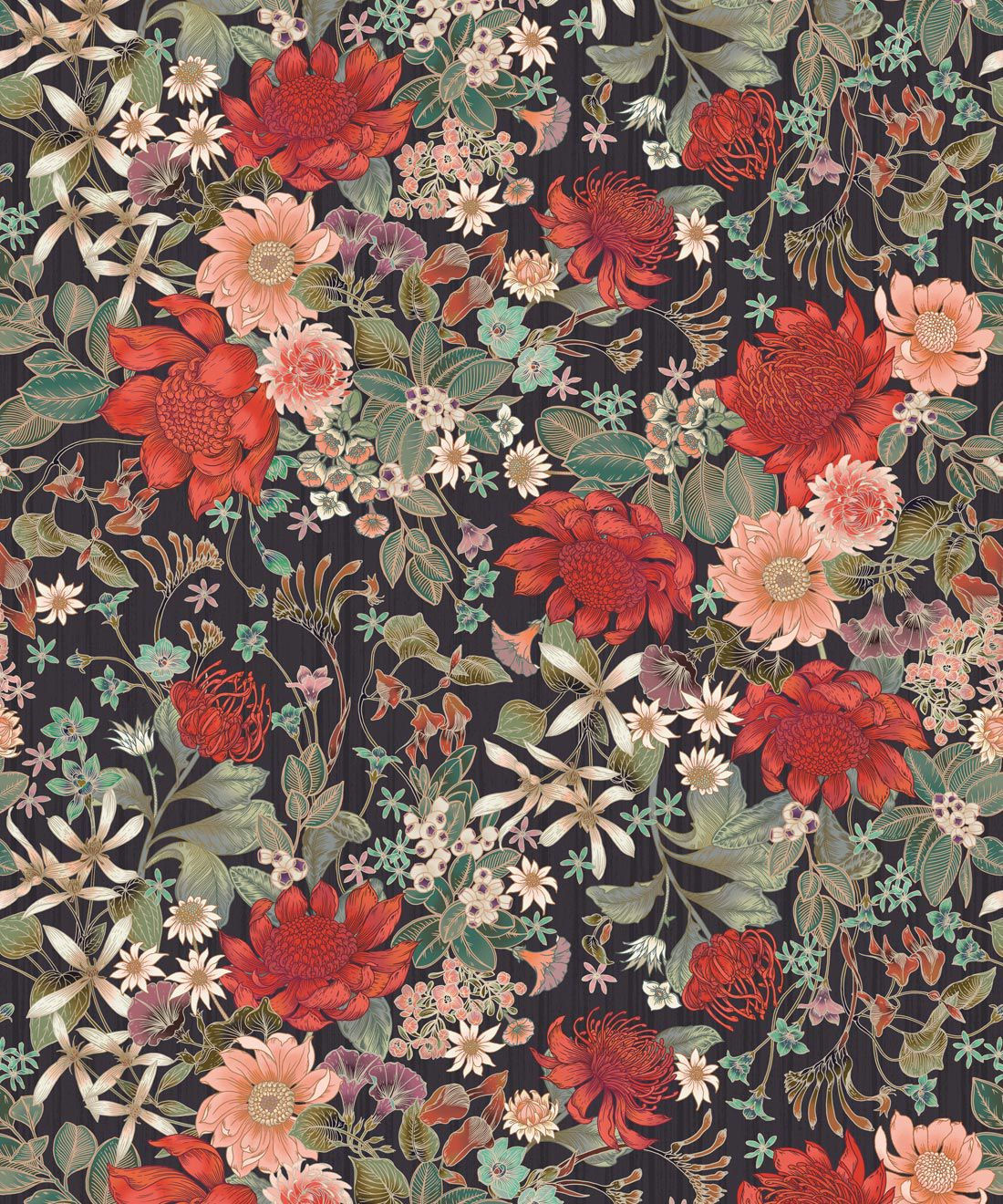 Bouquet Wallpaper • Eloise Short • Vintage Floral Wallpaper •Granny Chic Wallpaper • Grandmillennial Style Wallpaper •Licorice •Swatch