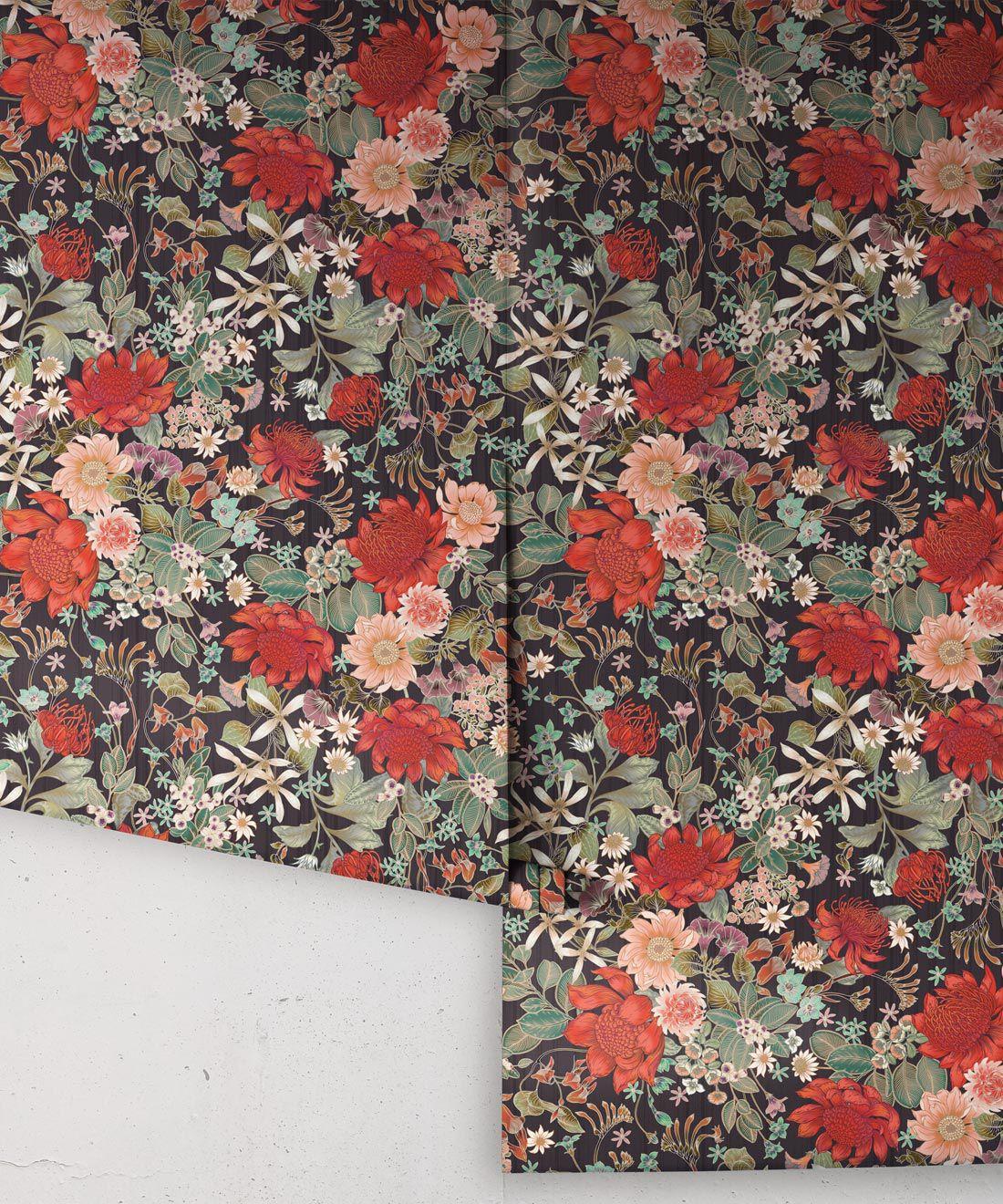 Bouquet Wallpaper • Eloise Short • Vintage Floral Wallpaper •Granny Chic Wallpaper • Grandmillennial Style Wallpaper •Licorice •Rolls
