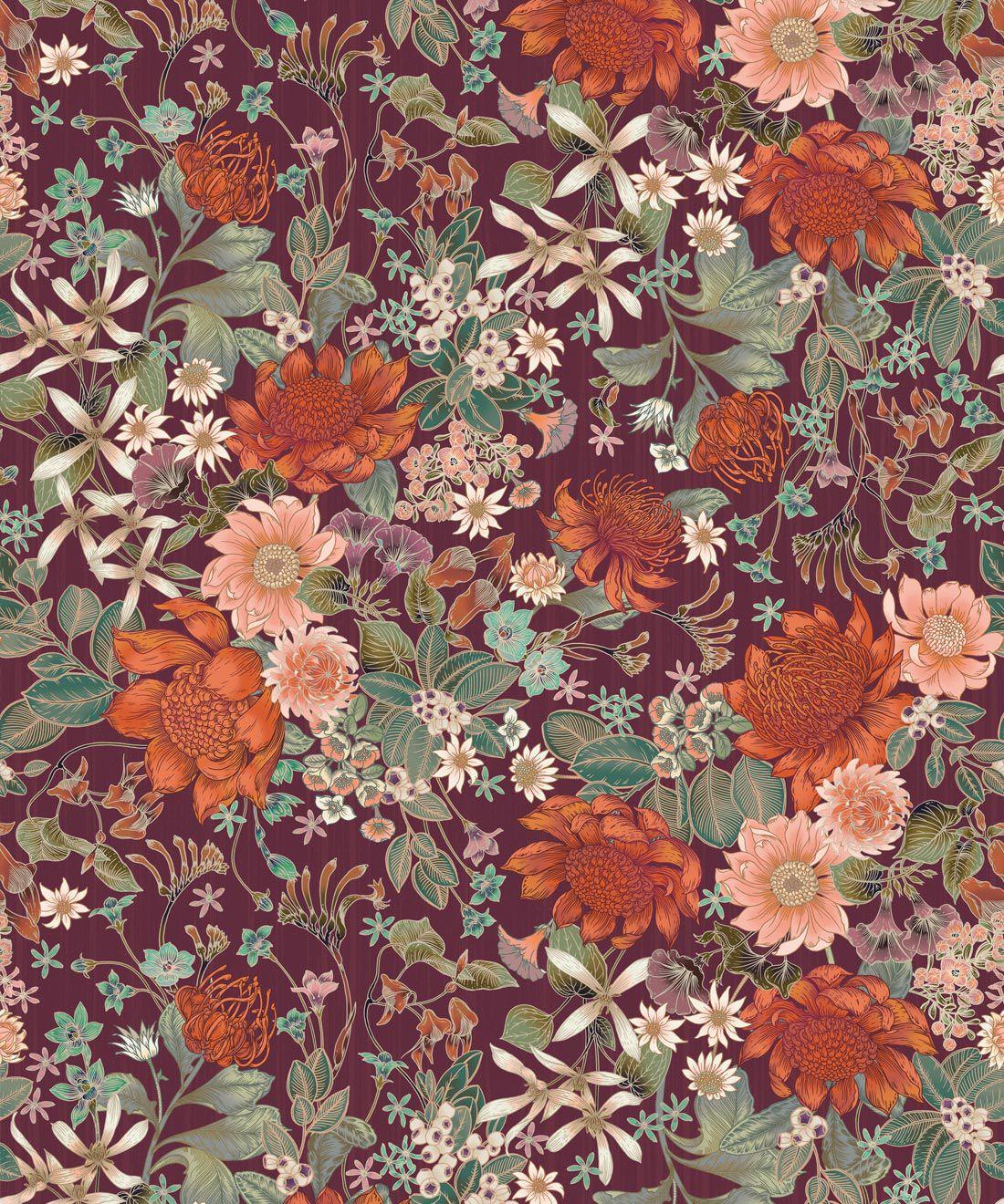 Bouquet Wallpaper • Eloise Short • Vintage Floral Wallpaper •Granny Chic Wallpaper • Grandmillennial Style Wallpaper •Mulberry •Swatch