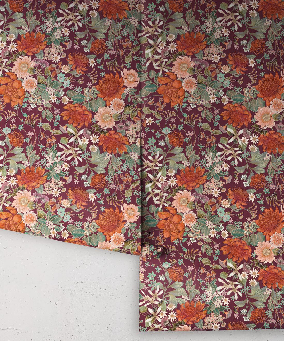 Bouquet Wallpaper • Eloise Short • Vintage Floral Wallpaper •Granny Chic Wallpaper • Grandmillennial Style Wallpaper •Mulberry •Rolls
