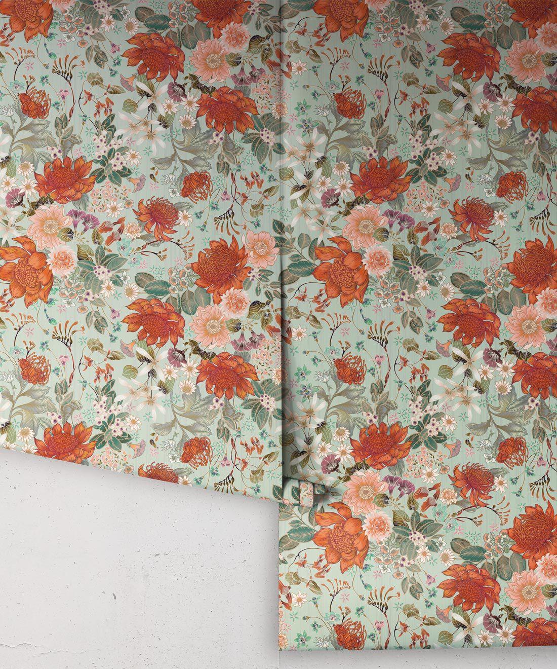 Bouquet Wallpaper • Eloise Short • Vintage Floral Wallpaper •Granny Chic Wallpaper • Grandmillennial Style Wallpaper •Pistachio •Rolls
