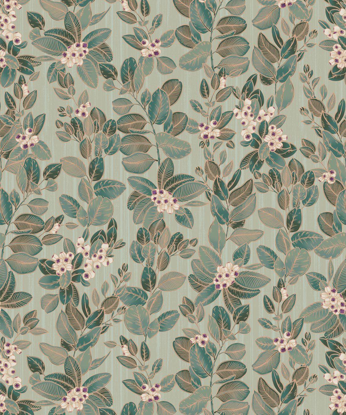 Eucalyptus Wallpaper • Eloise Short • Vintage Floral Wallpaper •Granny Chic Wallpaper • Grandmillennial Style Wallpaper •Pale Green •Swatch