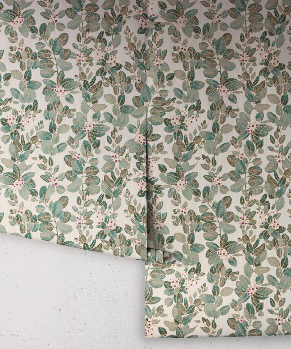 Eucalyptus Wallpaper • Eloise Short • Vintage Floral Wallpaper •Granny Chic Wallpaper • Grandmillennial Style Wallpaper •Pearl •Rolls