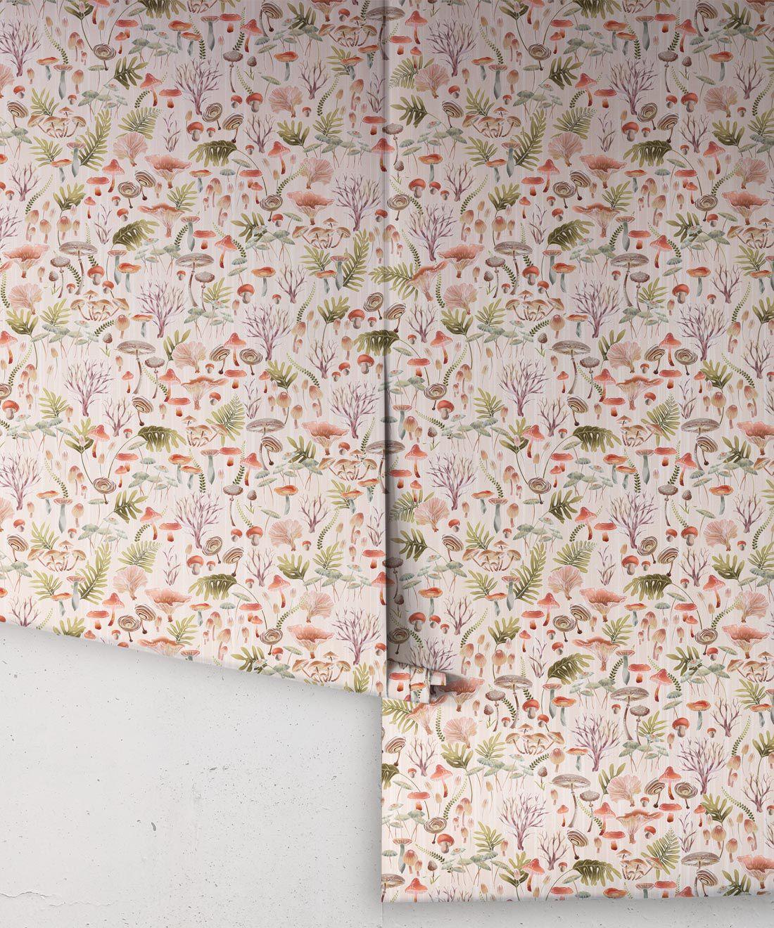 Fungi Wallpaper • Eloise Short • Vintage Floral Wallpaper •Granny Chic Wallpaper • Grandmillennial Style Wallpaper •Latte •Rolls