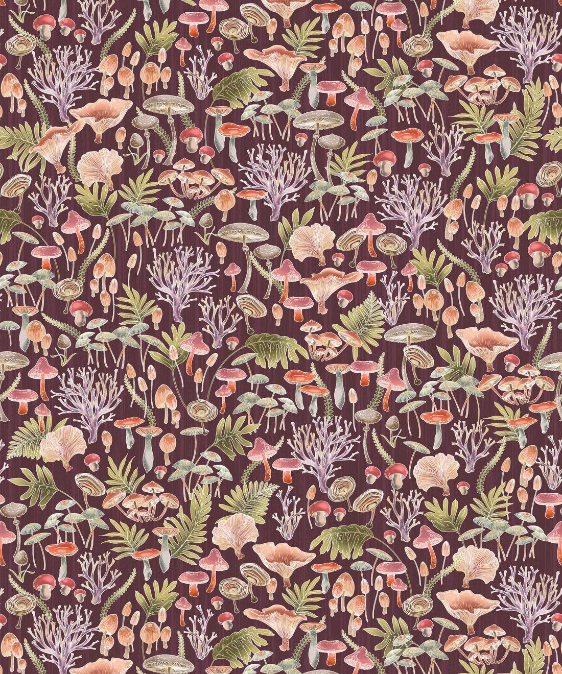Fungi Wallpaper • Eloise Short • Vintage Floral Wallpaper •Granny Chic Wallpaper • Grandmillennial Style Wallpaper •Wine •Swatch