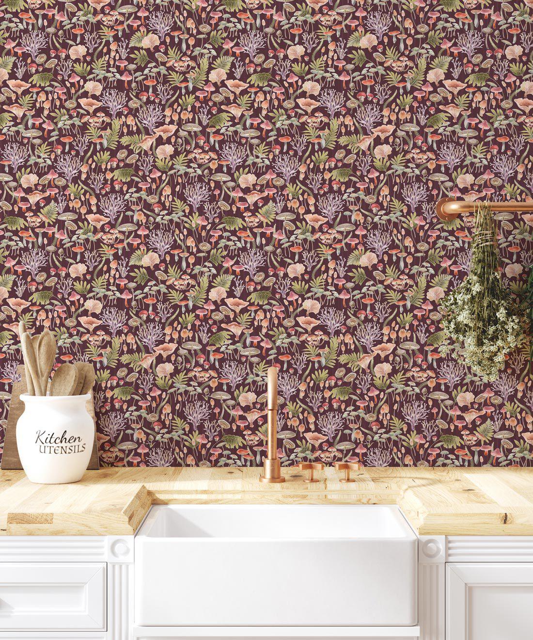 Fungi Wallpaper • Eloise Short • Vintage Floral Wallpaper •Granny Chic Wallpaper • Grandmillennial Style Wallpaper •Wine •Insitu