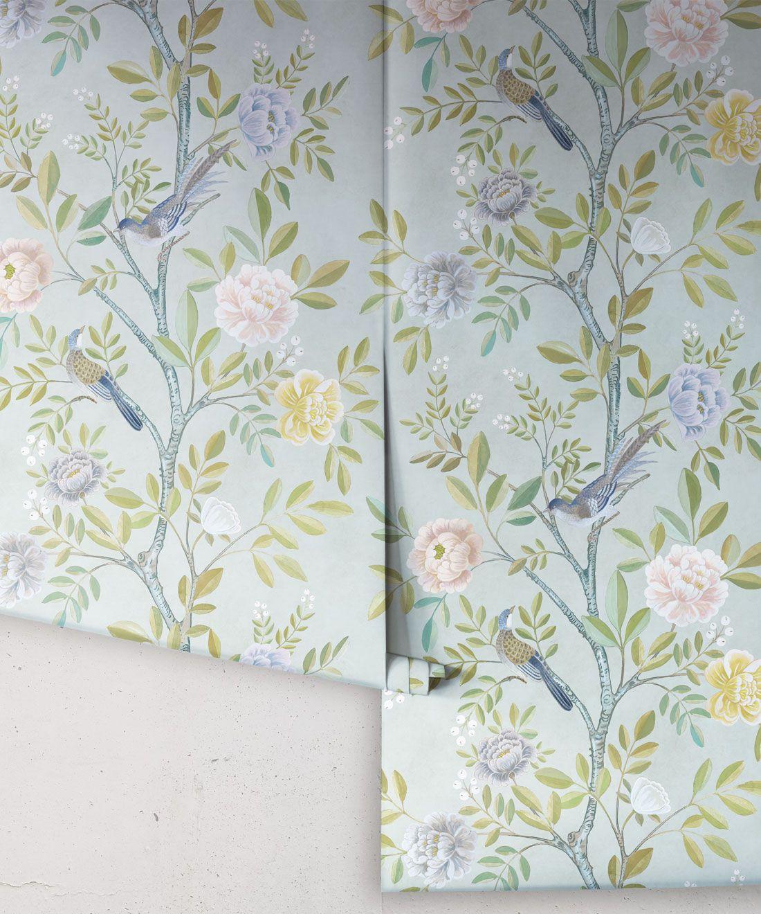 Chinoiserie Wallpaper •Floral Wallpaper •Bird Wallpaper • Magnolia • Aqua • Rolls