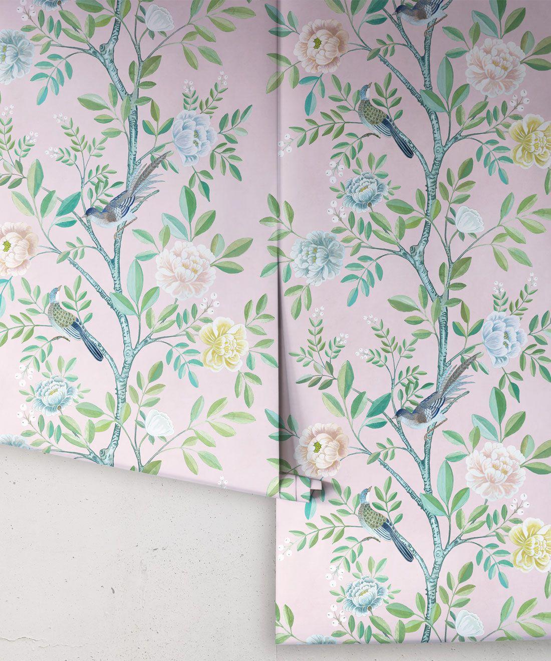 Chinoiserie Wallpaper •Floral Wallpaper •Bird Wallpaper • Magnolia • Blush • Rolls