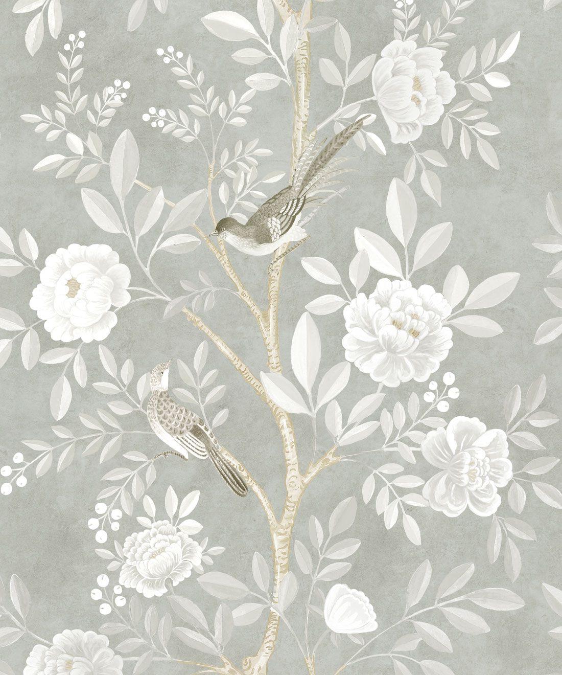 Chinoiserie Wallpaper •Floral Wallpaper •Bird Wallpaper • Magnolia • Linen • Swatch