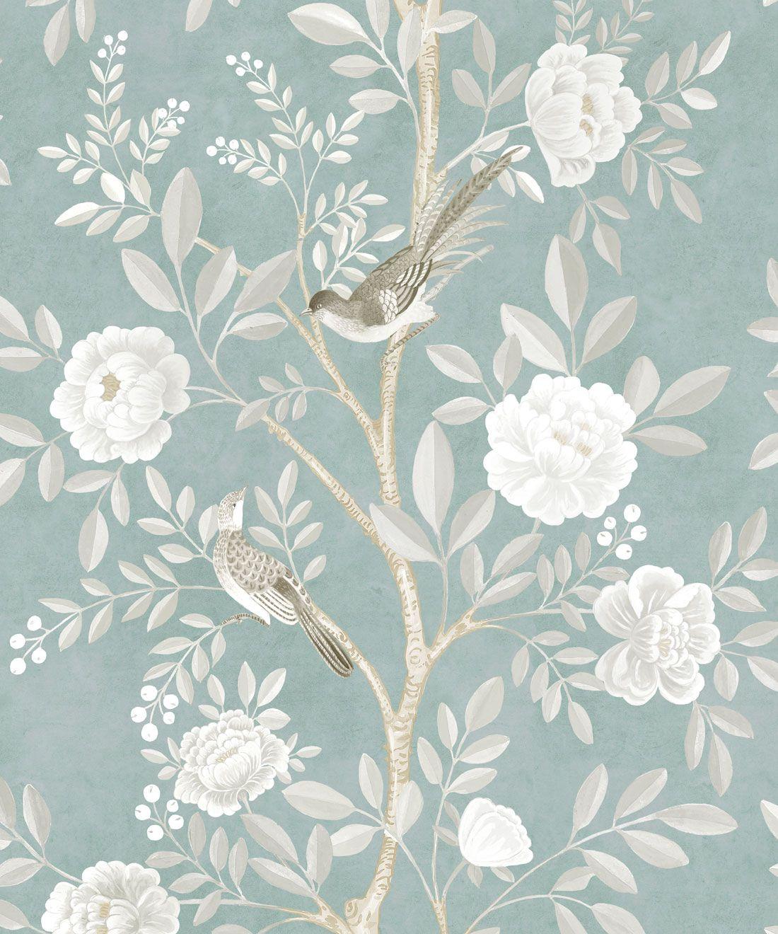 Chinoiserie Wallpaper •Floral Wallpaper •Bird Wallpaper • Magnolia • Milk Green • Swatch