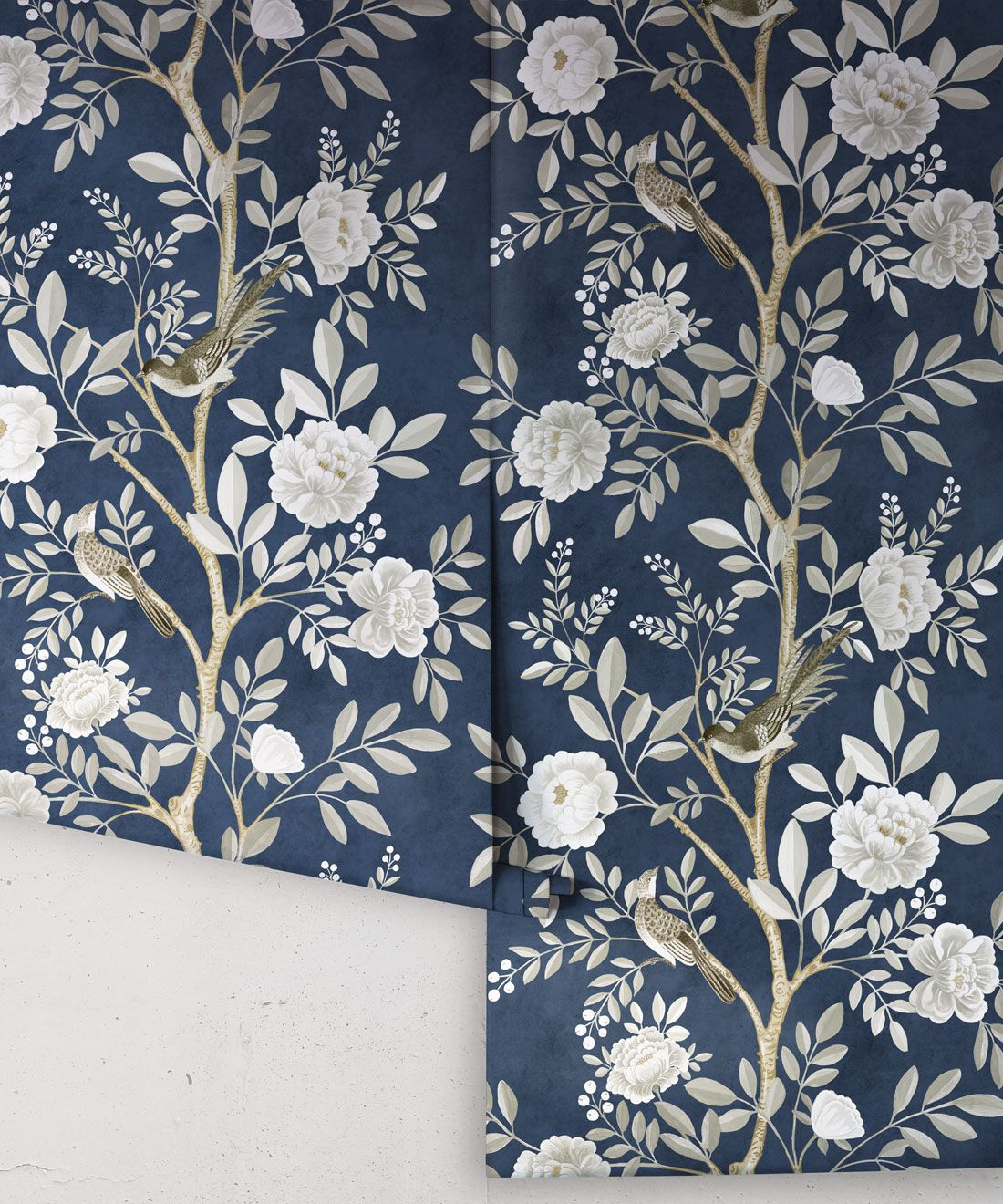 Chinoiserie Wallpaper •Floral Wallpaper •Bird Wallpaper • Magnolia • Royal Blue • Rolls