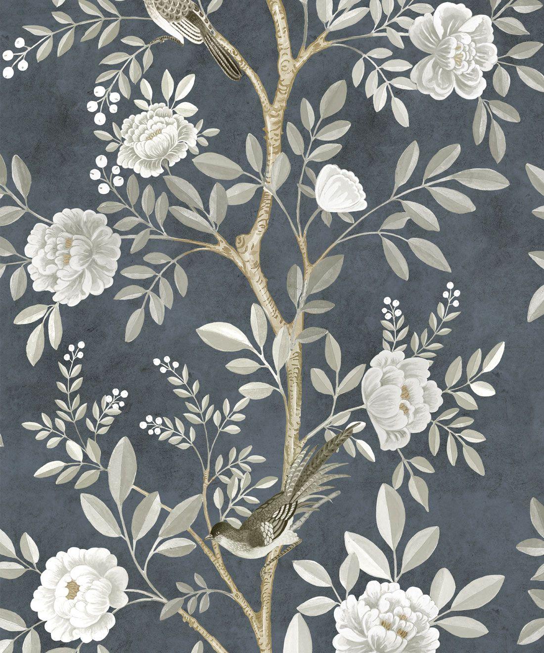 Chinoiserie Wallpaper •Floral Wallpaper •Bird Wallpaper • Magnolia • Navy • Swatch