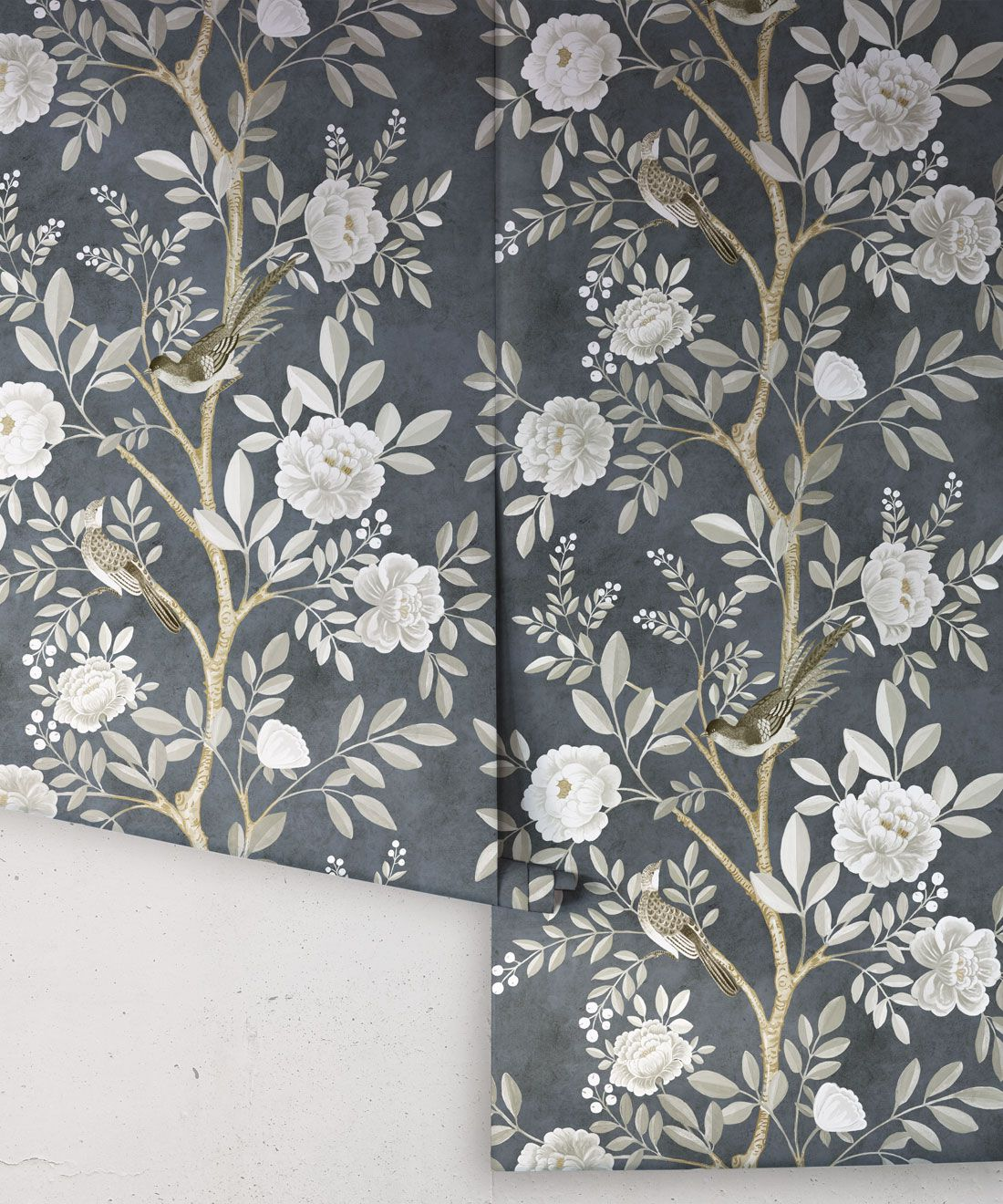 Chinoiserie Wallpaper •Floral Wallpaper •Bird Wallpaper • Magnolia • Navy • Rolls