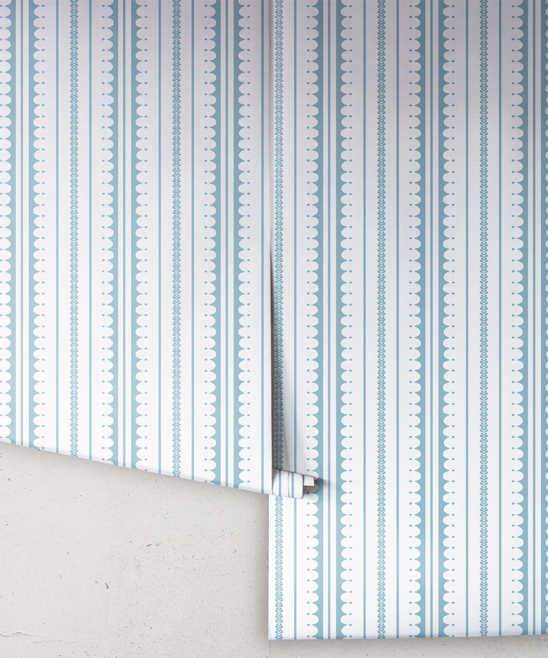 La Grand Coquille • Stripe and Scallop Wallpaper • Powder Blue • Rolls
