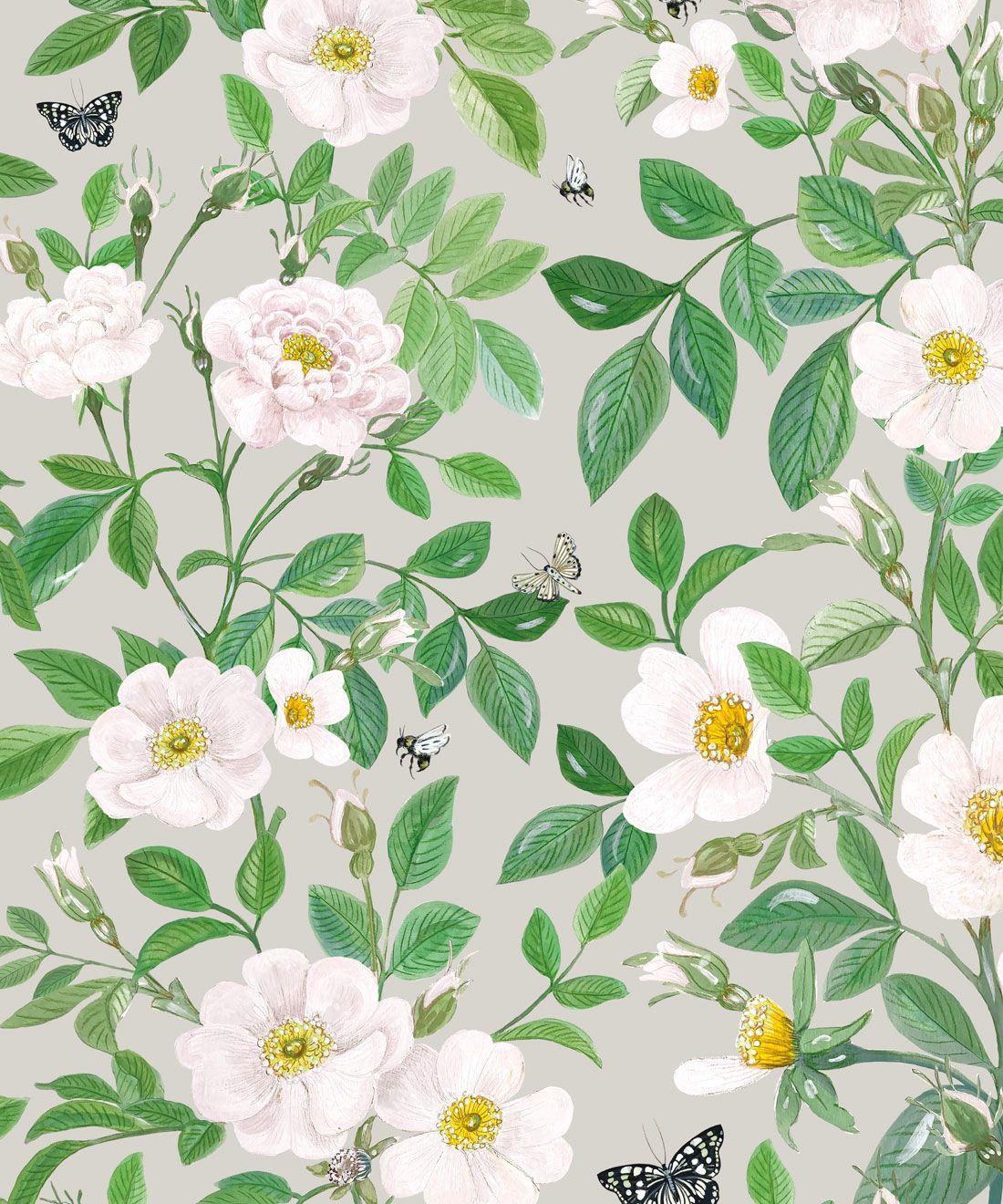 Rosa Wallpaper • Floral Wallpaper • Beige •Swatch