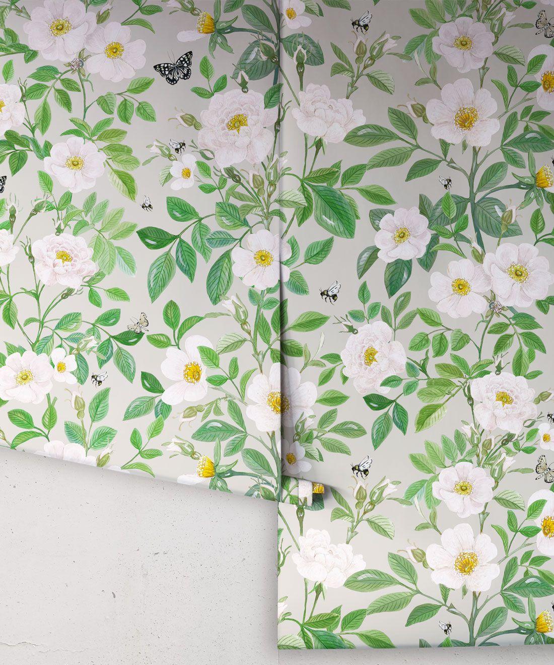 Rosa Wallpaper • Floral Wallpaper • Beige •Roll
