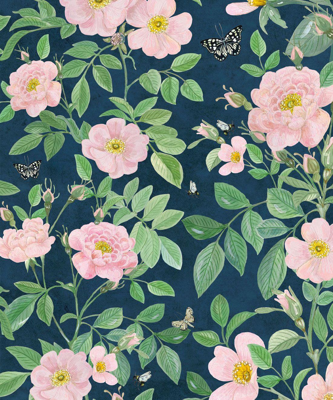 Rosa Wallpaper • Floral Wallpaper •Rose Pink • Swatch